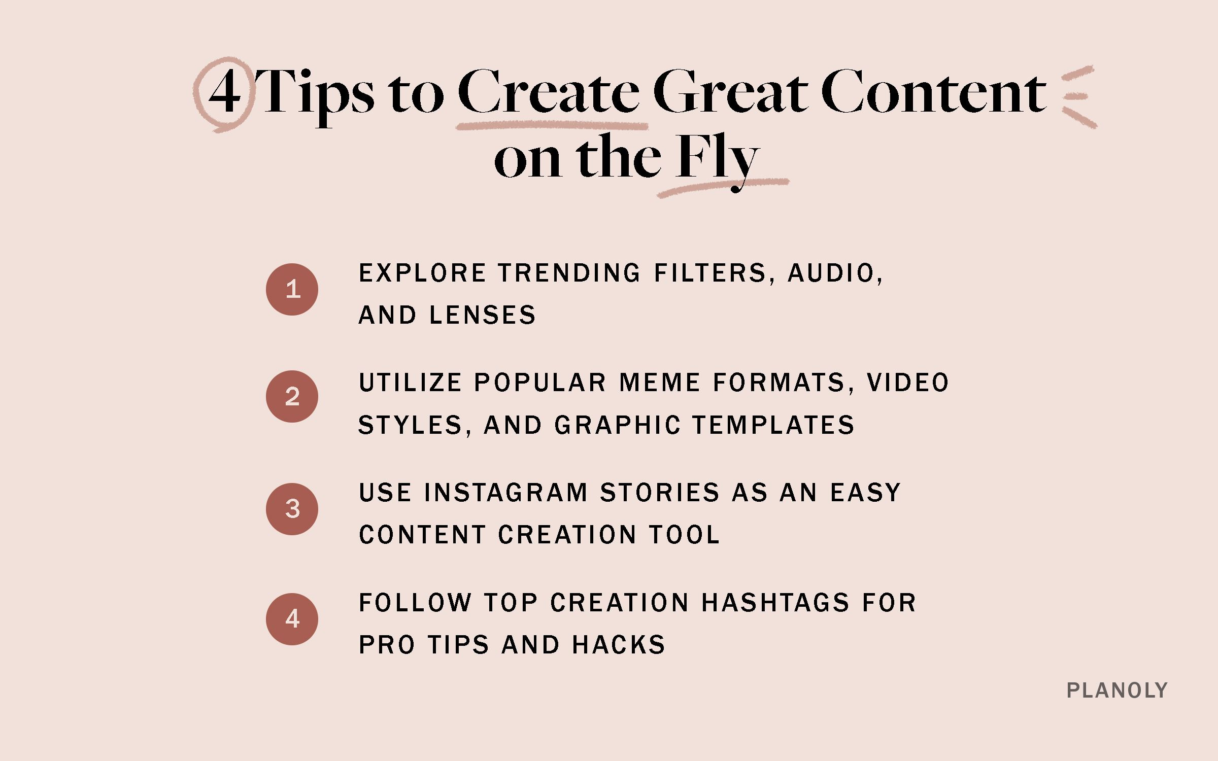 PLANOLY - Blog - 4 Tips to Create Great Content on the Fly - Horizontal - 1