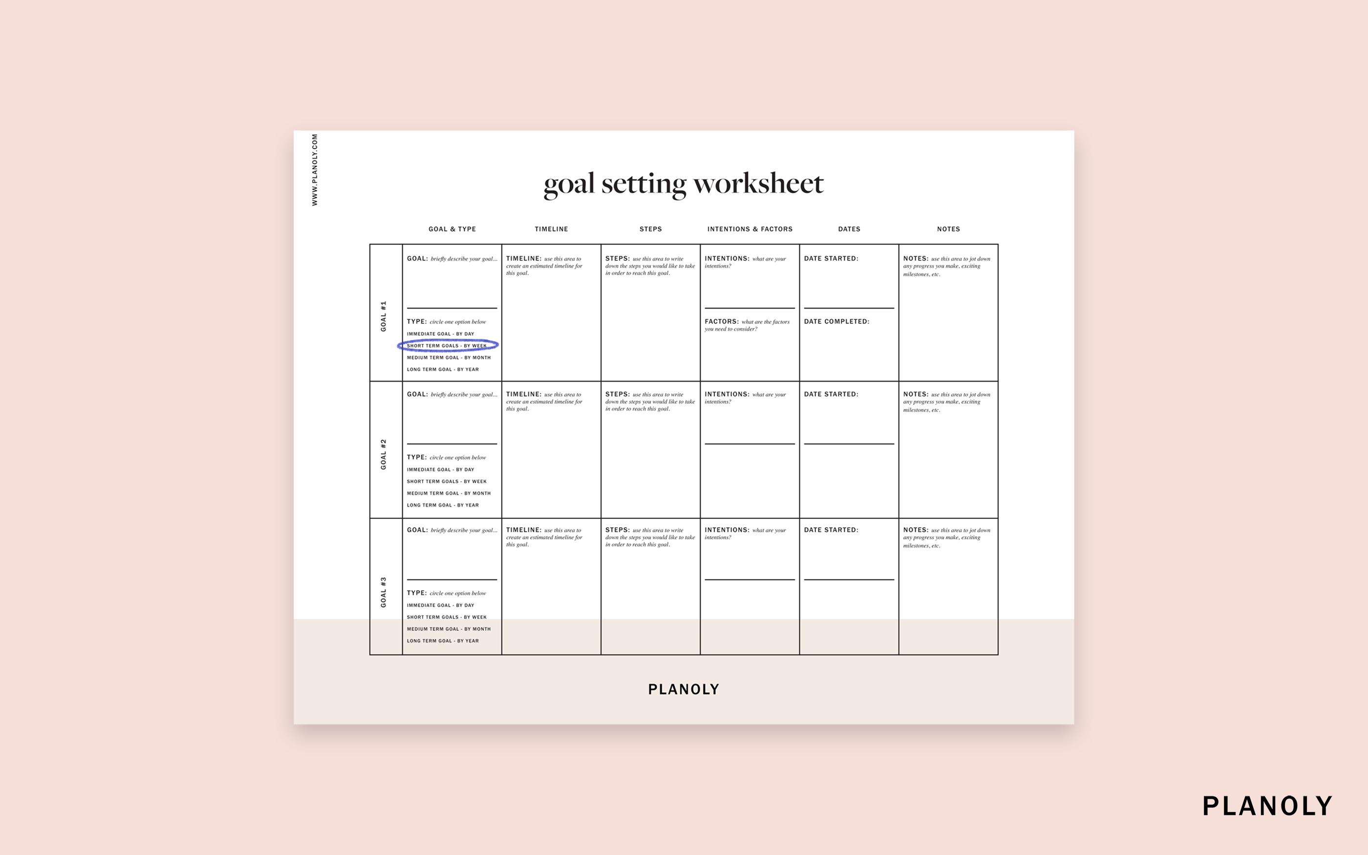 Planoly's Influencer Goal Setting Worksheet