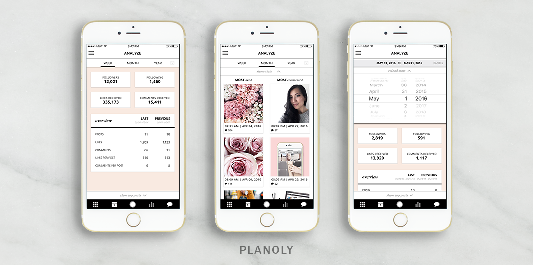 analyze analytics and insights planoly instagram management app